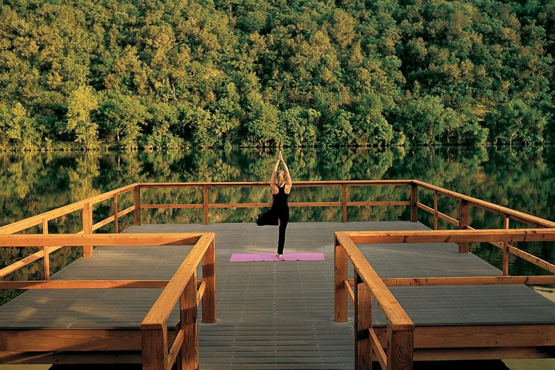 photo of a woman doing yoga at a spa in austin texas